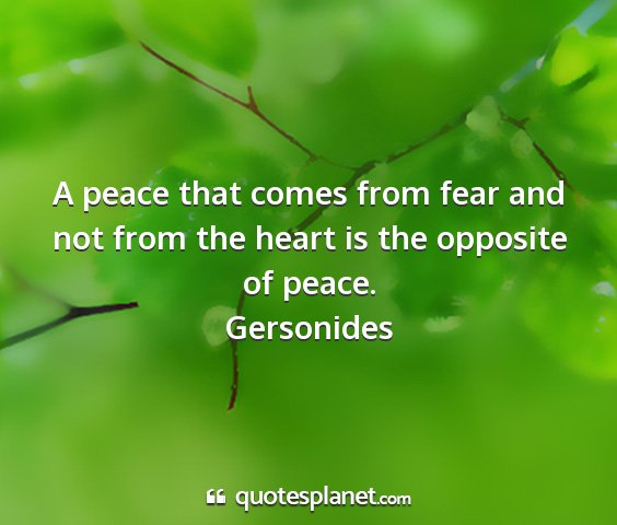 Gersonides - a peace that comes from fear and not from the...