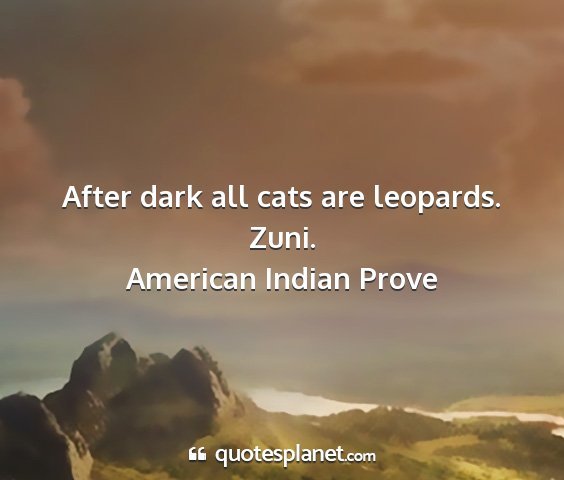 American indian prove - after dark all cats are leopards. zuni....