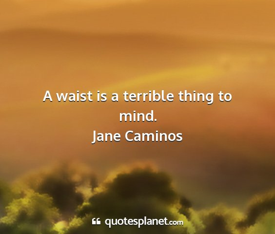 Jane caminos - a waist is a terrible thing to mind....