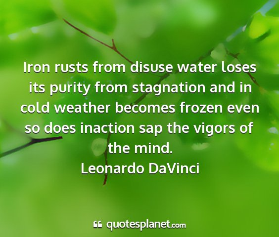 Leonardo davinci - iron rusts from disuse water loses its purity...