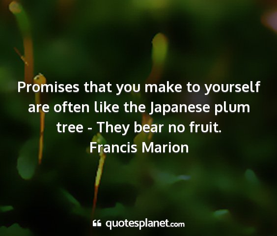 Francis marion - promises that you make to yourself are often like...