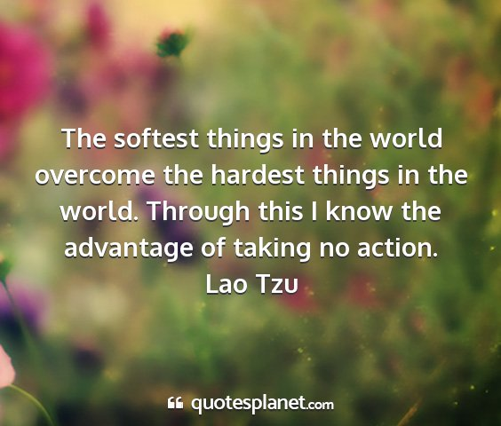 Lao tzu - the softest things in the world overcome the...