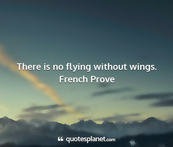 French prove - there is no flying without wings....