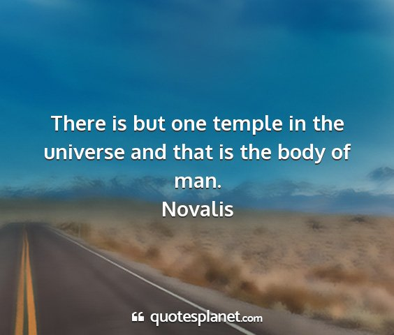 Novalis - there is but one temple in the universe and that...