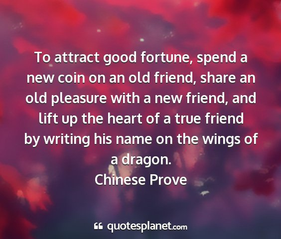 Chinese prove - to attract good fortune, spend a new coin on an...