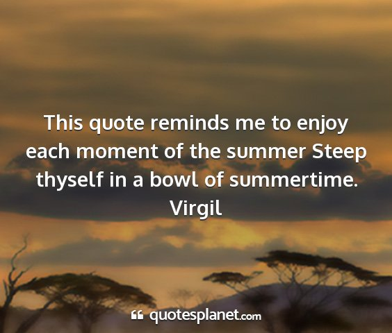 Virgil - this quote reminds me to enjoy each moment of the...