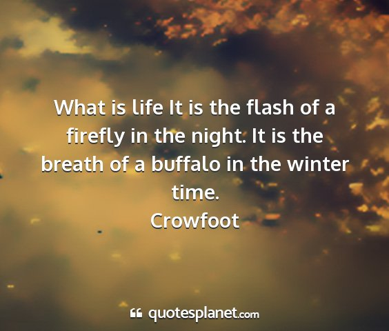 Crowfoot - what is life it is the flash of a firefly in the...