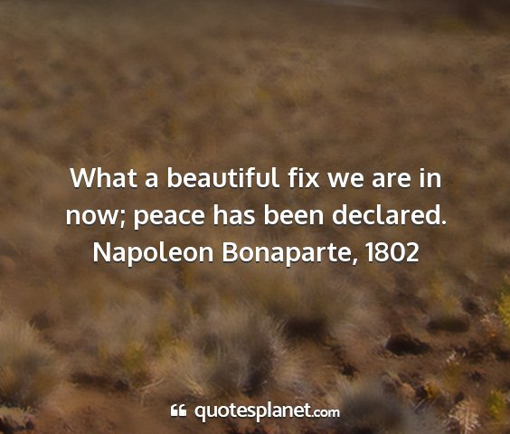 Napoleon bonaparte, 1802 - what a beautiful fix we are in now; peace has...