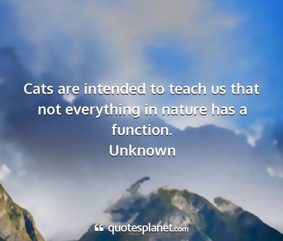Unknown - cats are intended to teach us that not everything...