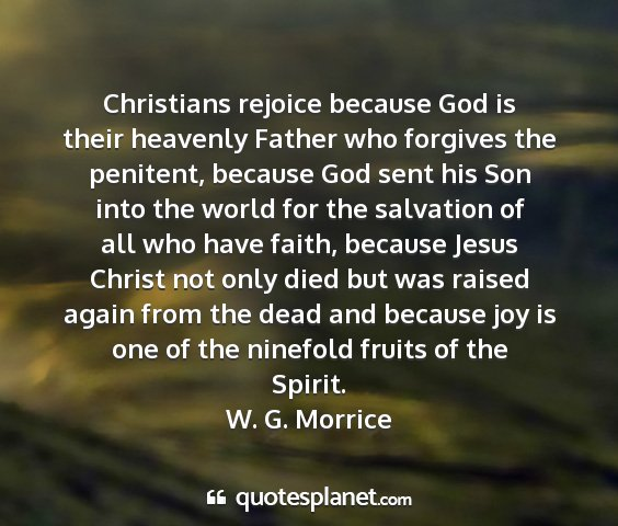 W. g. morrice - christians rejoice because god is their heavenly...