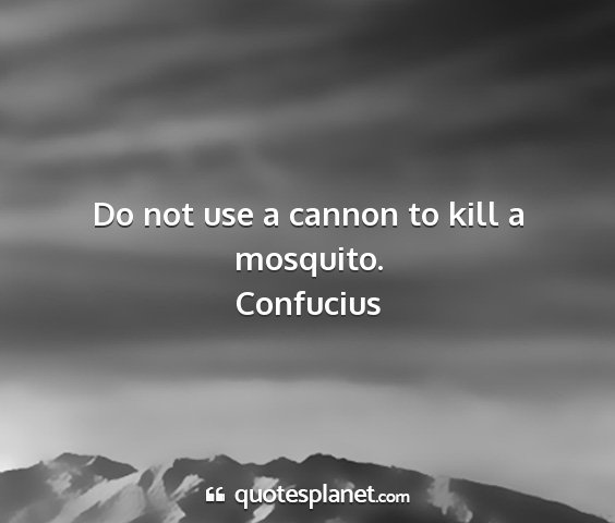 Confucius - do not use a cannon to kill a mosquito....