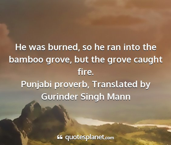 Punjabi proverb, translated by gurinder singh mann - he was burned, so he ran into the bamboo grove,...