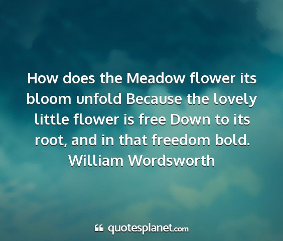 William wordsworth - how does the meadow flower its bloom unfold...
